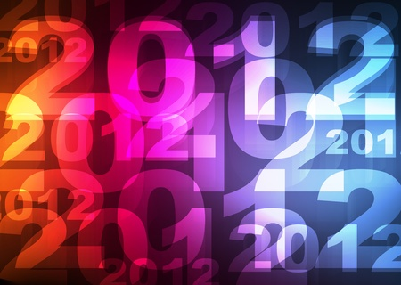 New Year 2012 card made of neon lights shining in the dark background vector Vector