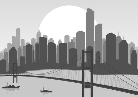 retro sunrise: Retro skyscraper city bridge landscape background illustration Illustration