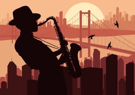 saxofon: El saxofonista en la ilustración de rascacielos de la ciudad de fondo del paisaje