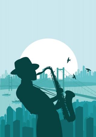 jazz club: Saxophone player in skyscraper city landscape background illustration
