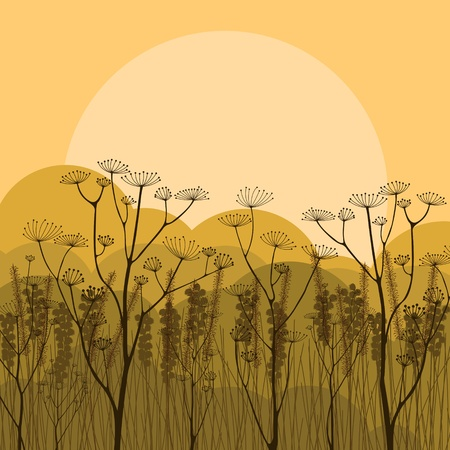 group pattern: Autumn countryside landscape background illustration