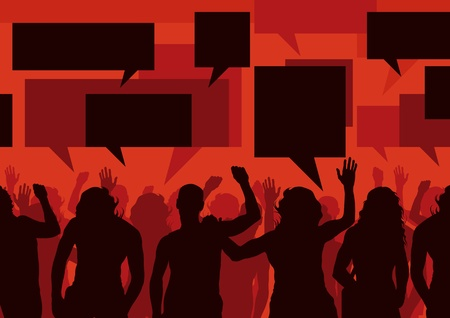 political rally: Protesters crowd vector background