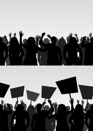 political rally: I manifestanti affollano sfondo vettoriale
