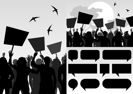 Protesters crowd vector background Stock Vector - 11649913