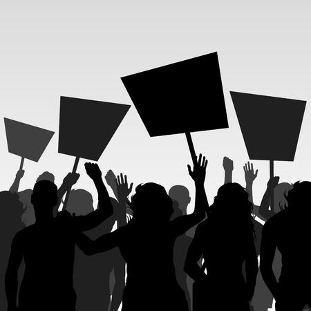 manifestacion: Los manifestantes llenan de vectores de fondo