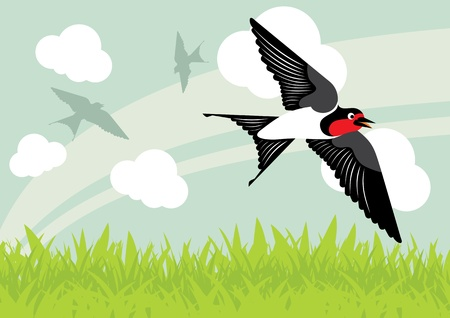 repose: Flying swallow birds in country side landscape background illustration Illustration