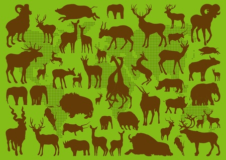 Animals with horns illustration collection background Vector