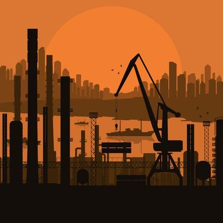 Industrial factory landscape background illustration Vector