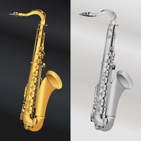 saxophone: Gold and silver saxophone illustration background Illustration