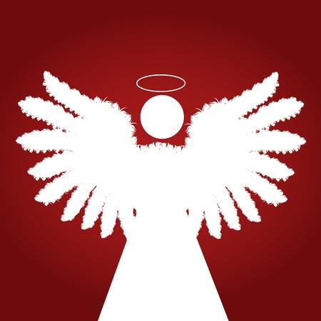silueta de angel: �ngel de la Navidad con plumas de las alas de vectores de fondo de color rojo Vectores