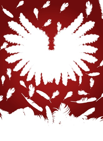 Christmas Angel with feather wings vector red background Vector