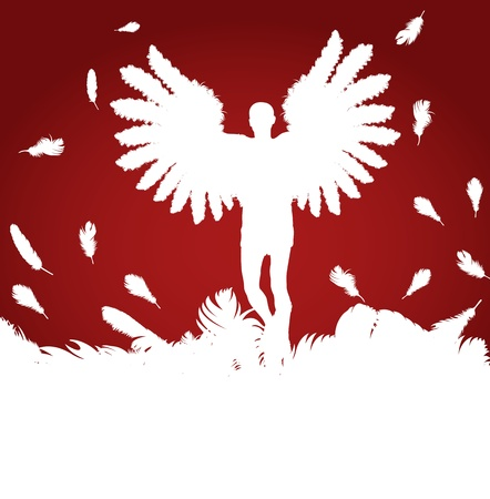 archangel: Christmas Angel with feather wings vector red background Illustration