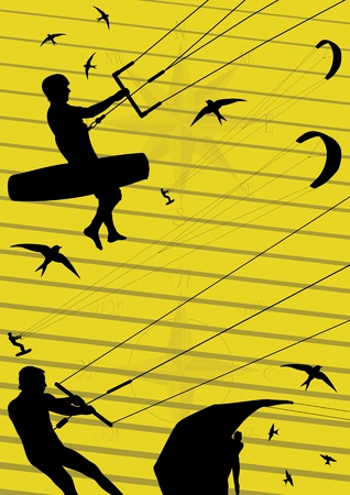 wind surfing: Kite boarding people silhouettes illustration collection background