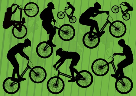 Mountain bike trial riders silhouettes illustration collection background Vector