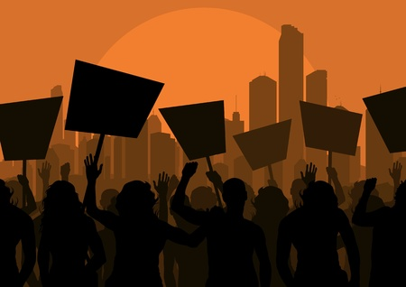 political rally: Протестующие толпой в городе небоскреба фоне иллюстрации пейзаж Иллюстрация