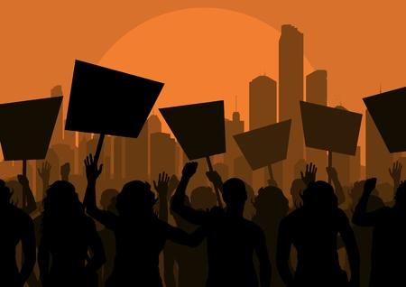 protester: Protesters crowd in skyscraper city landscape background illustration
