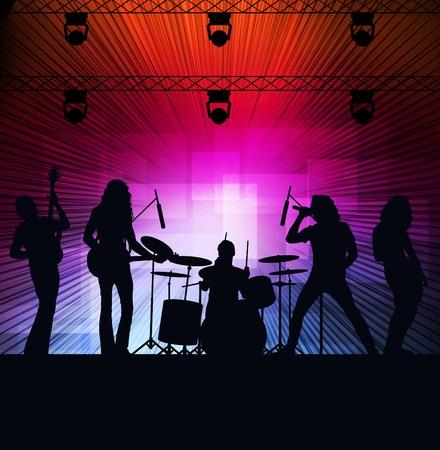 concierto de rock: La banda de rock de vectores de fondo con luces de neón Vectores