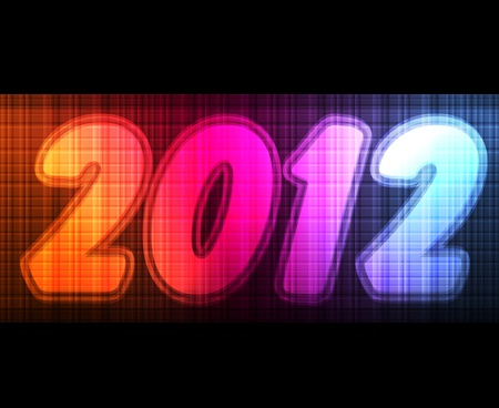 glimpse: New Year 2012 card made of neon lights shining in the dark background vector