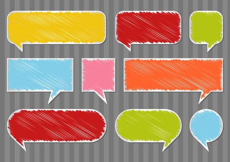 gossiping: Colorful speech bubbles and balloons illustration collection background