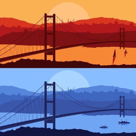 istanbul night: Bridge in day and night Arabic city landscape background illustration Illustration