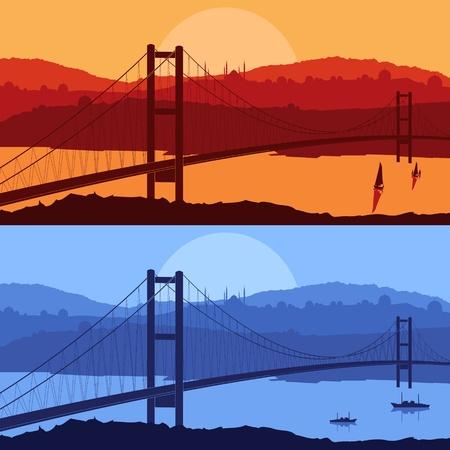 turkey istanbul: Bridge in giorno e di notte illustrazione citt� araba paesaggio di sfondo Vettoriali