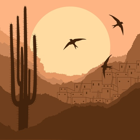 indian village: Wild desert canyon nature landscape background illustration Illustration