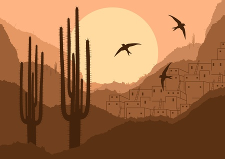 cactus desert: Wild desert canyon nature landscape background illustration Illustration