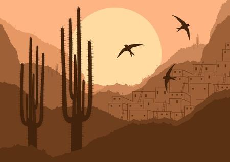 cactus desert: Wild woestijn canyon natuur, landschap, achtergrond illustratie
