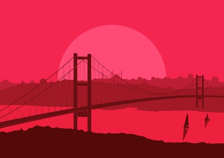 istanbul night: Bridge in Arabic city landscape background illustration