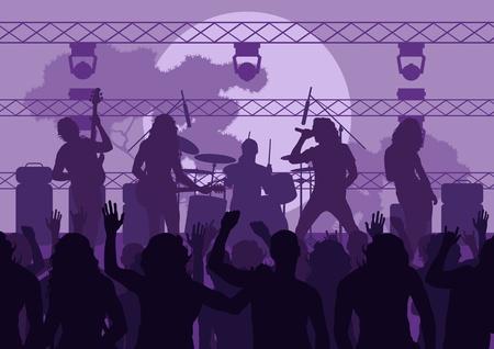 pop musician: Rock concert landscape background illustration Illustration