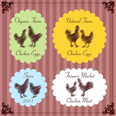 cock duck: Farm chickens egg and meat labels illustration collection