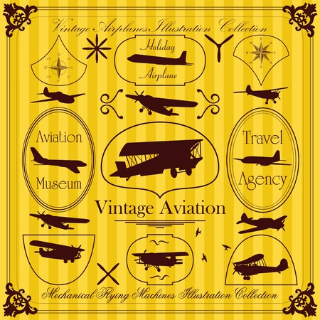 pilot wings: Vintage airplanes frames and elements illustration collection