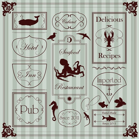 Vintage sailor marine elements illustration collection Stock Vector - 11650034