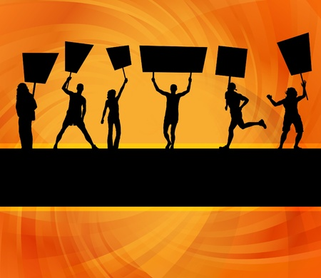 people in action: Protesters crowd landscape background illustration