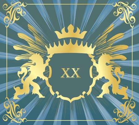 Coat of arms vector background with heraldic lions