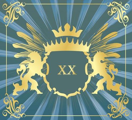 edad media: Escudo de armas de vectores de fondo con los leones heráldicos