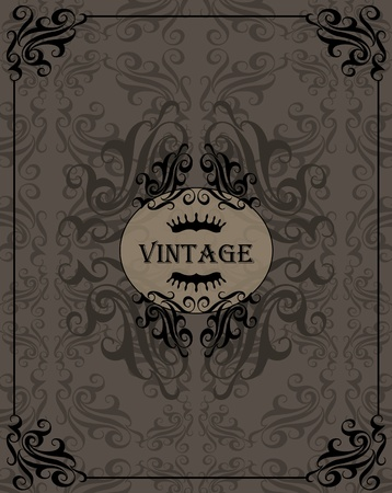 brown swirl: Vintage vector background for book cover or card