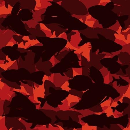 wart: Exotic fishes colorful illustration background