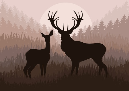 incendio bosco: Pioggia famiglia dei cervi nel selvaggio paesaggio illustrazione vettoriale foresta di sfondo