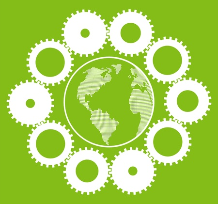 Green eco planet with concept of innovation gears around it vector background Vector