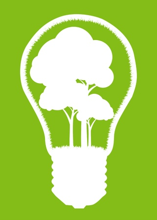 Tree in a light bulb isolated on white vector background concept Vector