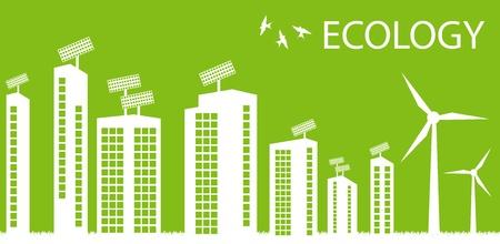 atlantic city: Green Eco city ecology vector background concept around globe Illustration