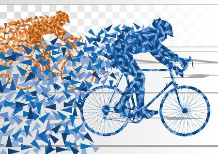 fiets: Sport racefiets rijders fiets silhouetten in stedelijke stad weg achtergrond illustratie vector Stock Illustratie