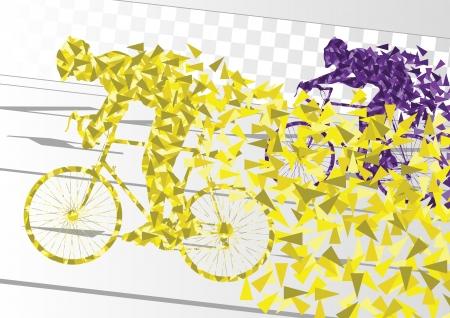 buiten sporten: Sport racefiets rijders fiets silhouetten in stedelijke stad weg achtergrond illustratie vector Stock Illustratie