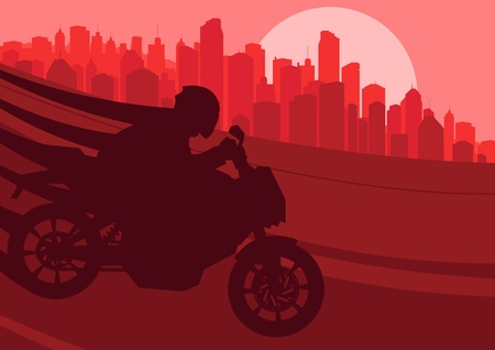 Sport motorbike riders silhouettes in skyscraper city landscape background illustration vector Vector
