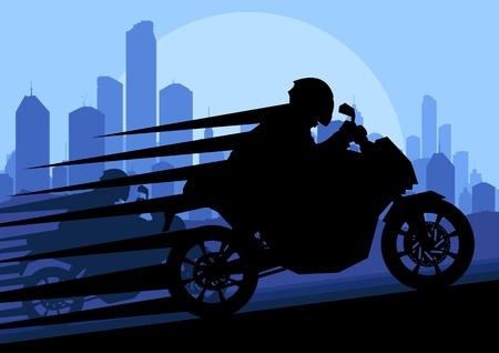 motorizado: Pilotos de motos deportivas en siluetas vector urbano paisaje de la ciudad ilustración de fondo Vectores