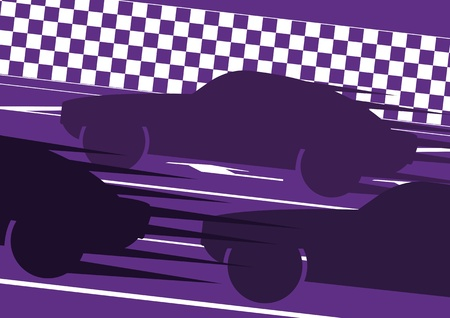 Sport cars in race track background illustration vector Vector