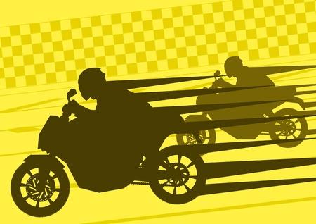 motorizado: Los pilotos de moto deportiva siluetas en vector paisaje urbano de la ciudad ilustración de fondo