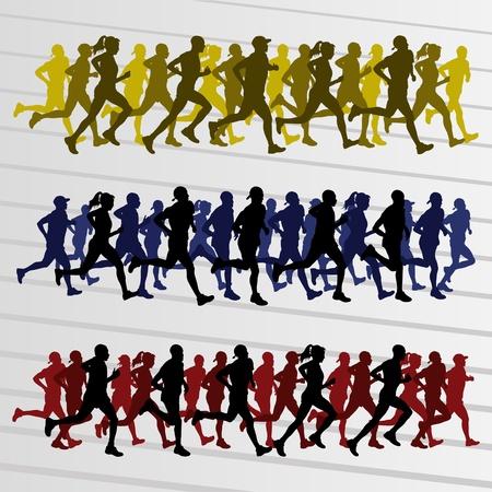maratón: Marathon běžci siluety lidí Ilustrace Vektor sbírku