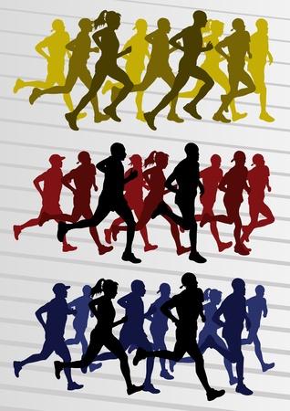 mujeres corriendo: Marat�n de corredores de la gente siluetas ilustraci�n vectorial colecci�n Vectores